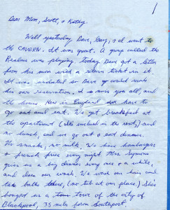 Ronny's Letter from England